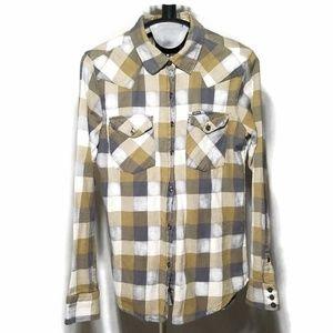 Hurley Button Down Plaid Long Sleeve Shirt